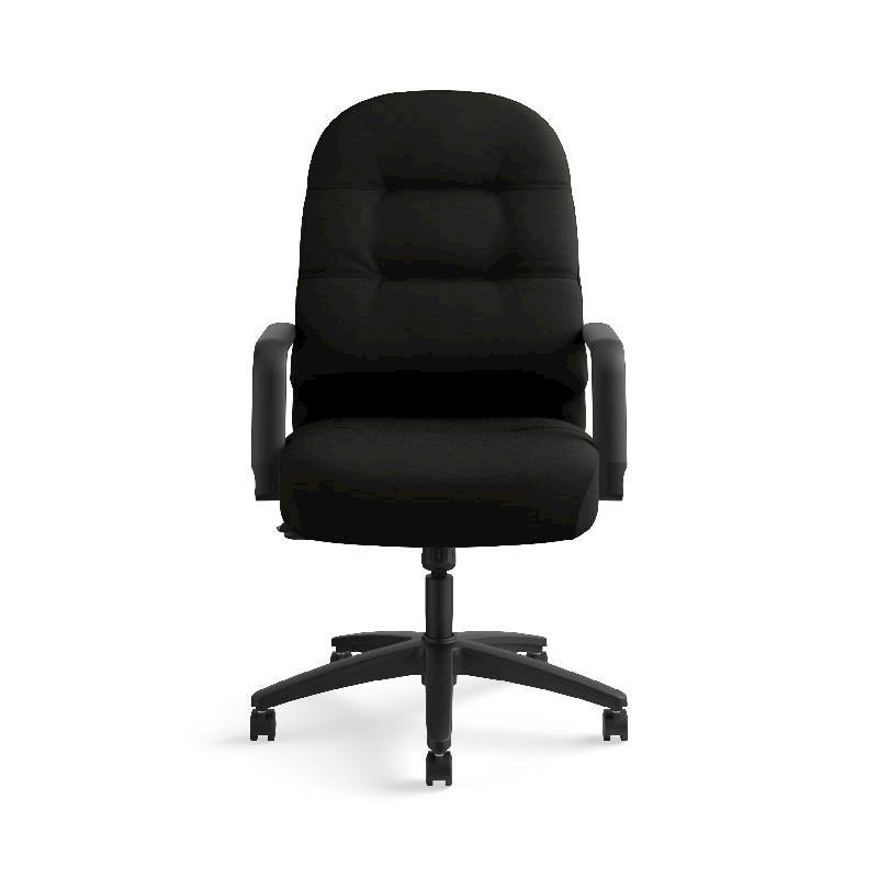 HON Pillow-Soft Executive High-Back Chair | Center-Tilt, Tension, Lock | Fixed Arms | Black Leather. Picture 4