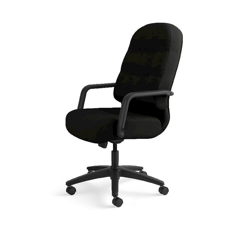 HON Pillow-Soft Executive High-Back Chair | Center-Tilt, Tension, Lock | Fixed Arms | Black Leather. Picture 12