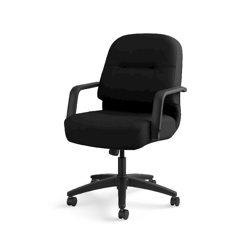 HON Pillow-Soft Mid-Back Task Chair | Center-Tilt, Tension, Lock | Fixed Arms | Black Fabric