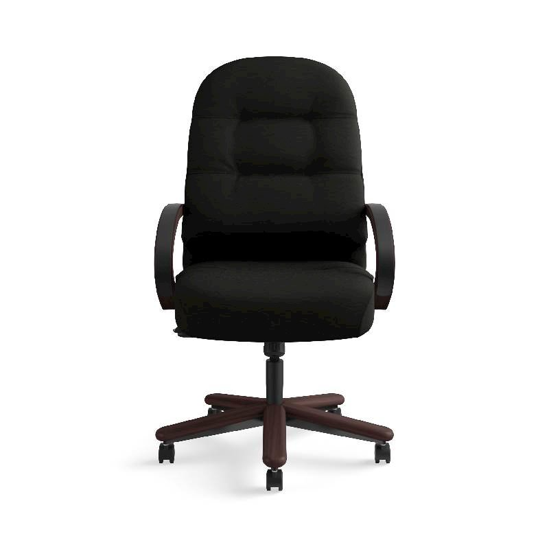 HON Pillow-Soft Executive High-Back Chair | Center-Tilt, Tension, Lock | Fixed Arms | Wood Trim | Mahogany Finish | Black Leather. Picture 4