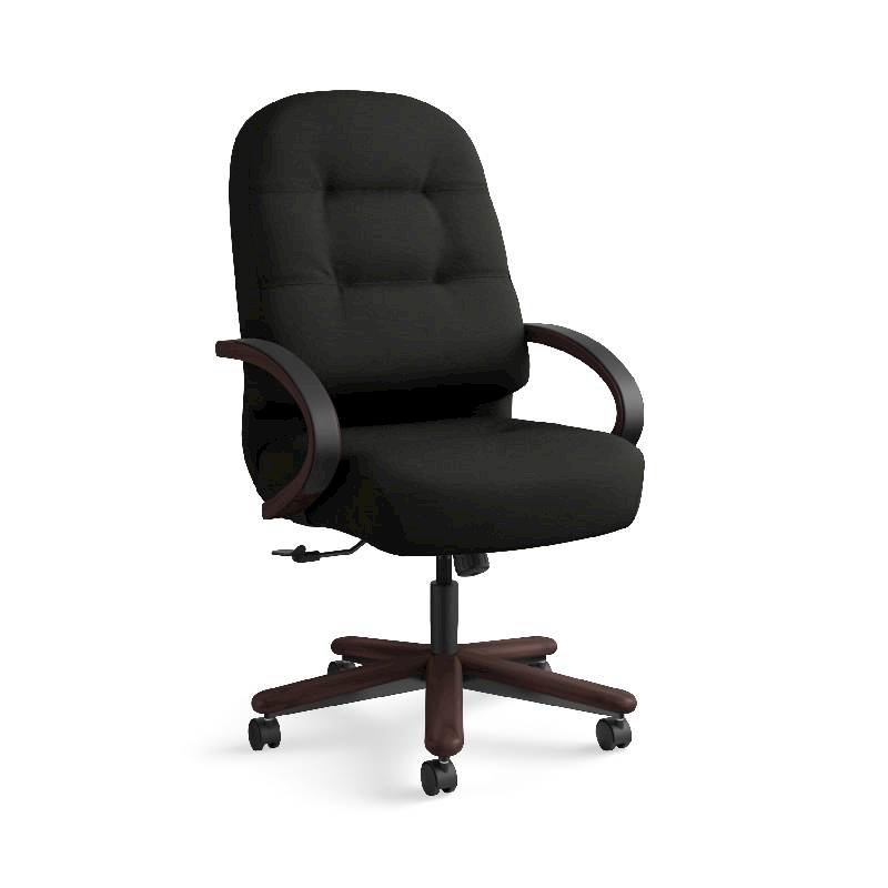 HON Pillow-Soft Executive High-Back Chair | Center-Tilt, Tension, Lock | Fixed Arms | Wood Trim | Mahogany Finish | Black Leather. Picture 5