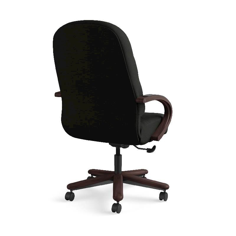 HON Pillow-Soft Executive High-Back Chair | Center-Tilt, Tension, Lock | Fixed Arms | Wood Trim | Mahogany Finish | Black Leather. Picture 8