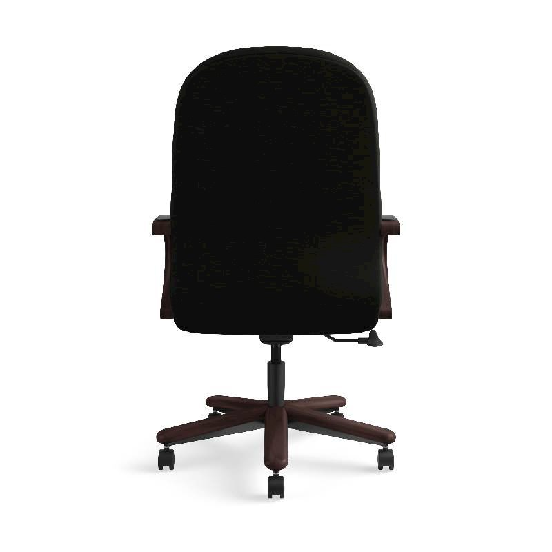 HON Pillow-Soft Executive High-Back Chair | Center-Tilt, Tension, Lock | Fixed Arms | Wood Trim | Mahogany Finish | Black Leather. Picture 9