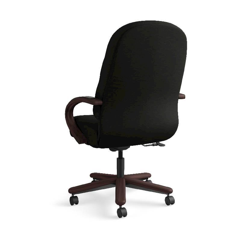 HON Pillow-Soft Executive High-Back Chair | Center-Tilt, Tension, Lock | Fixed Arms | Wood Trim | Mahogany Finish | Black Leather. Picture 10