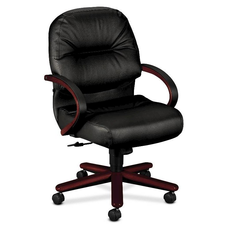 HON Pillow-Soft Mid-Back Task Chair | Center-Tilt, Tension, Lock | Fixed Arms | Wood Trim | Mahogany Finish | Black Leather. Picture 1