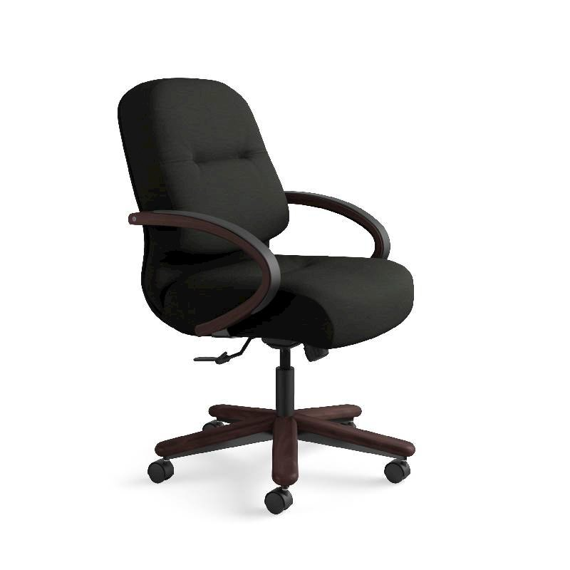 HON Pillow-Soft Mid-Back Task Chair | Center-Tilt, Tension, Lock | Fixed Arms | Wood Trim | Mahogany Finish | Black Leather. Picture 2