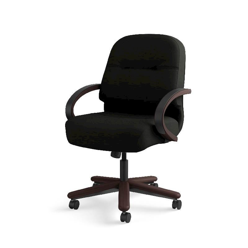HON Pillow-Soft Mid-Back Task Chair | Center-Tilt, Tension, Lock | Fixed Arms | Wood Trim | Mahogany Finish | Black Leather. Picture 3