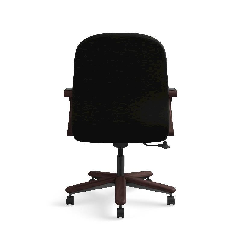 HON Pillow-Soft Mid-Back Task Chair | Center-Tilt, Tension, Lock | Fixed Arms | Wood Trim | Mahogany Finish | Black Leather. Picture 9