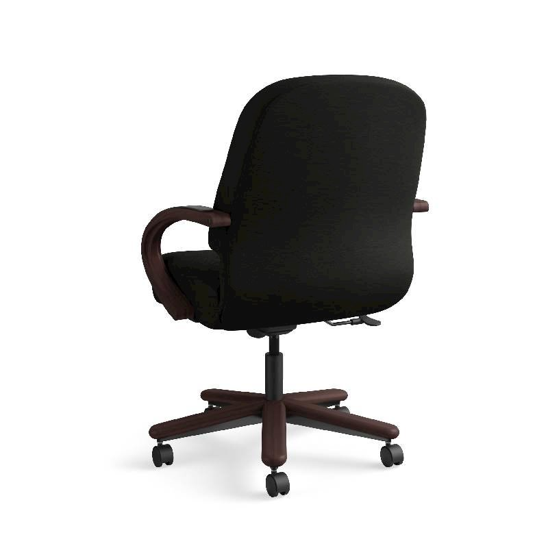 HON Pillow-Soft Mid-Back Task Chair | Center-Tilt, Tension, Lock | Fixed Arms | Wood Trim | Mahogany Finish | Black Leather. Picture 10