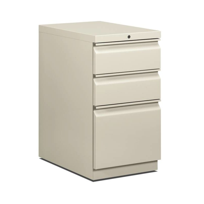 "HON Brigade Mobile Pedestal | 2 Box / 1 File Drawers | Full Radius Pull | 15""W x 22-7/8""D x 28""H | Light Gray Finish. Picture 1"