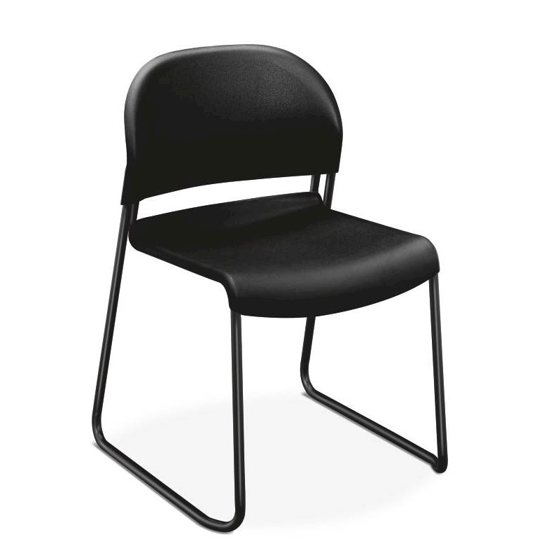 HON GuestStacker High-Density Stacking Chair | Onyx Shell | 4 per Carton. Picture 1