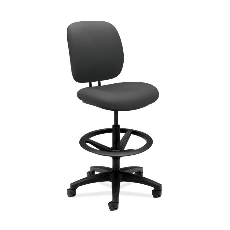 HON ComforTask Stool | Extended-Range Seat Height, Adjustable Footring | Iron Ore Fabric. Picture 1