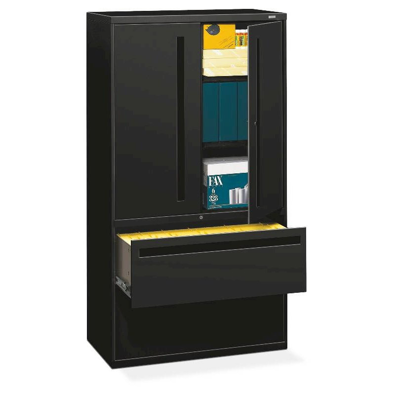 "HON Brigade 700 Series Lateral File | 2 Drawers / 3 Shelves with Doors | Full Integral Pull | 36""W x 19-1/4""D x 67""H 