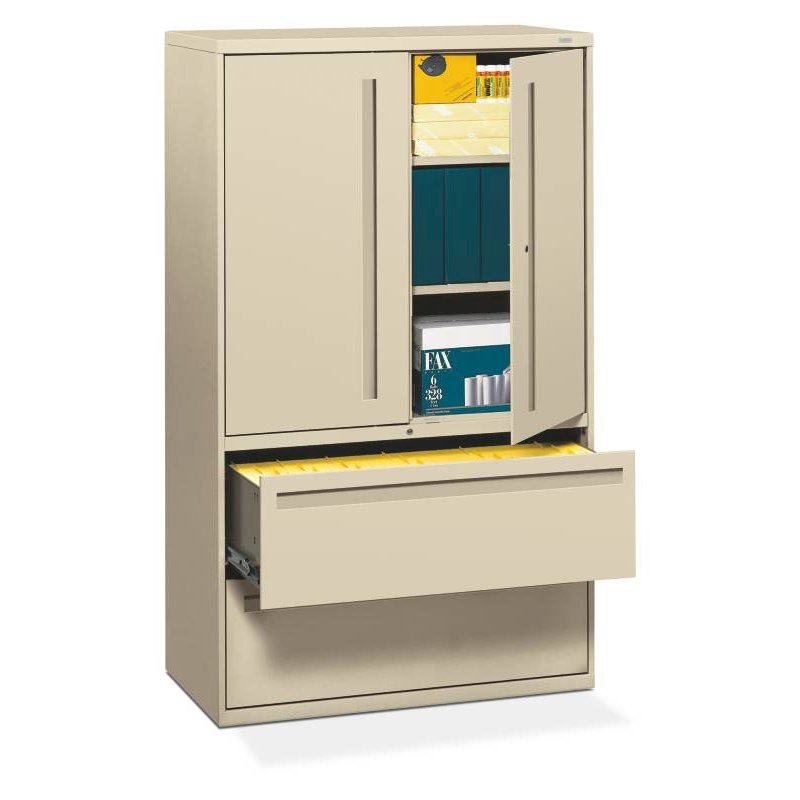 """HON Brigade 700 Series Lateral File   2 Drawers / 3 Shelves with Doors   Full Integral Pull   42""""W x 19-1/4""""D x 67""""H   Putty Finish. Picture 1"""