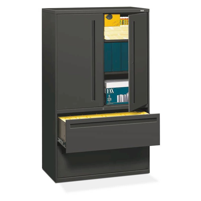 "HON Brigade 700 Series Lateral File | 2 Drawers / 3 Shelves with Doors | Full Integral Pull | 42""W x 19-1/4""D x 67""H 