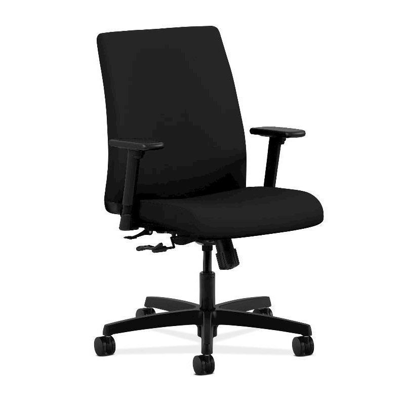 HON Ignition Low-Back Task Chair | Height- and Width-Adjustable Arms | Hard Casters | Upholstered Back | Black Fabric | Black Base. Picture 1
