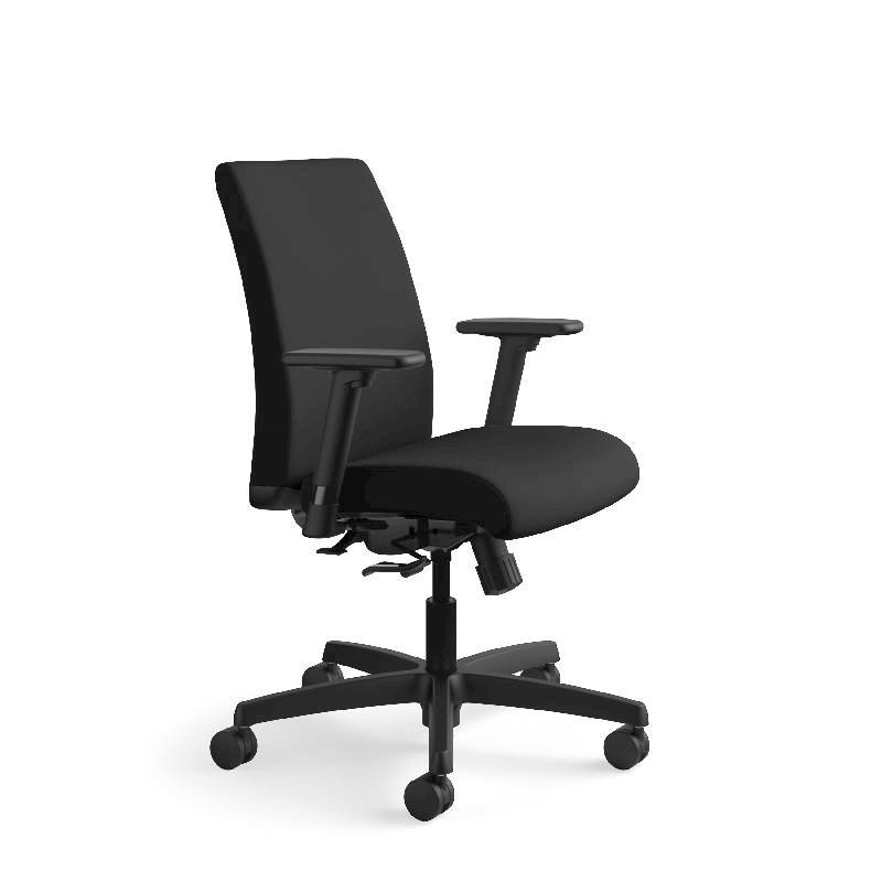 HON Ignition Low-Back Task Chair | Height- and Width-Adjustable Arms | Hard Casters | Upholstered Back | Black Fabric | Black Base. Picture 2