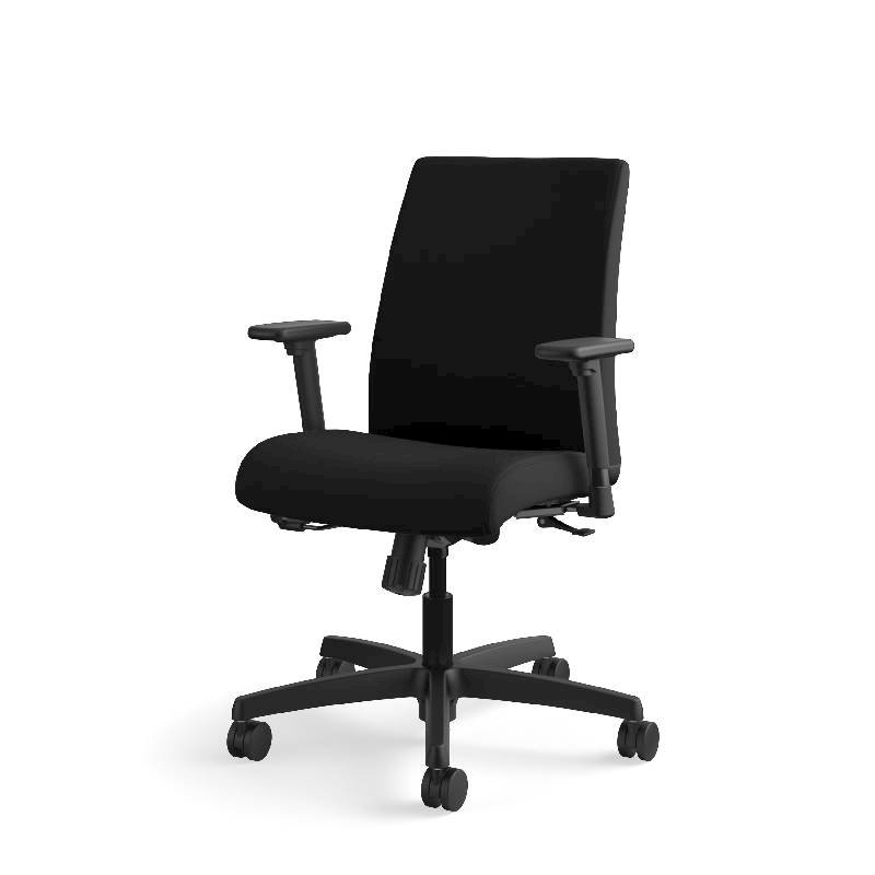 HON Ignition Low-Back Task Chair | Height- and Width-Adjustable Arms | Hard Casters | Upholstered Back | Black Fabric | Black Base. Picture 3