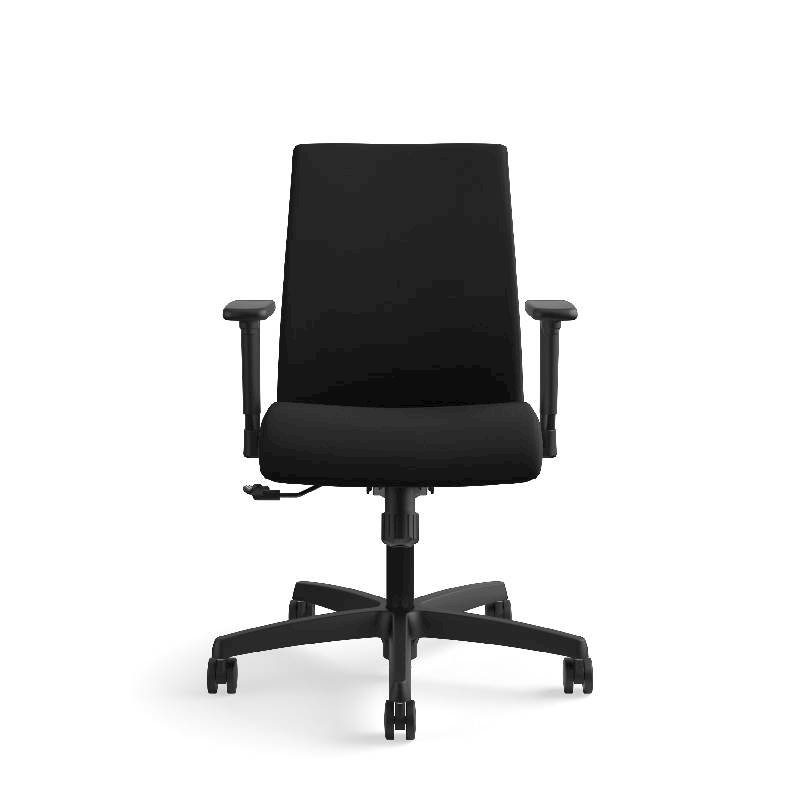 HON Ignition Low-Back Task Chair | Height- and Width-Adjustable Arms | Hard Casters | Upholstered Back | Black Fabric | Black Base. Picture 4