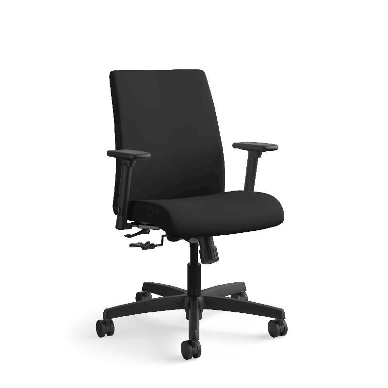 HON Ignition Low-Back Task Chair | Height- and Width-Adjustable Arms | Hard Casters | Upholstered Back | Black Fabric | Black Base. Picture 5