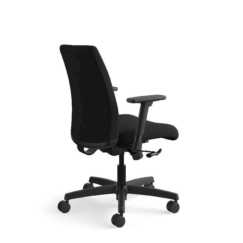 HON Ignition Low-Back Task Chair | Height- and Width-Adjustable Arms | Hard Casters | Upholstered Back | Black Fabric | Black Base. Picture 7