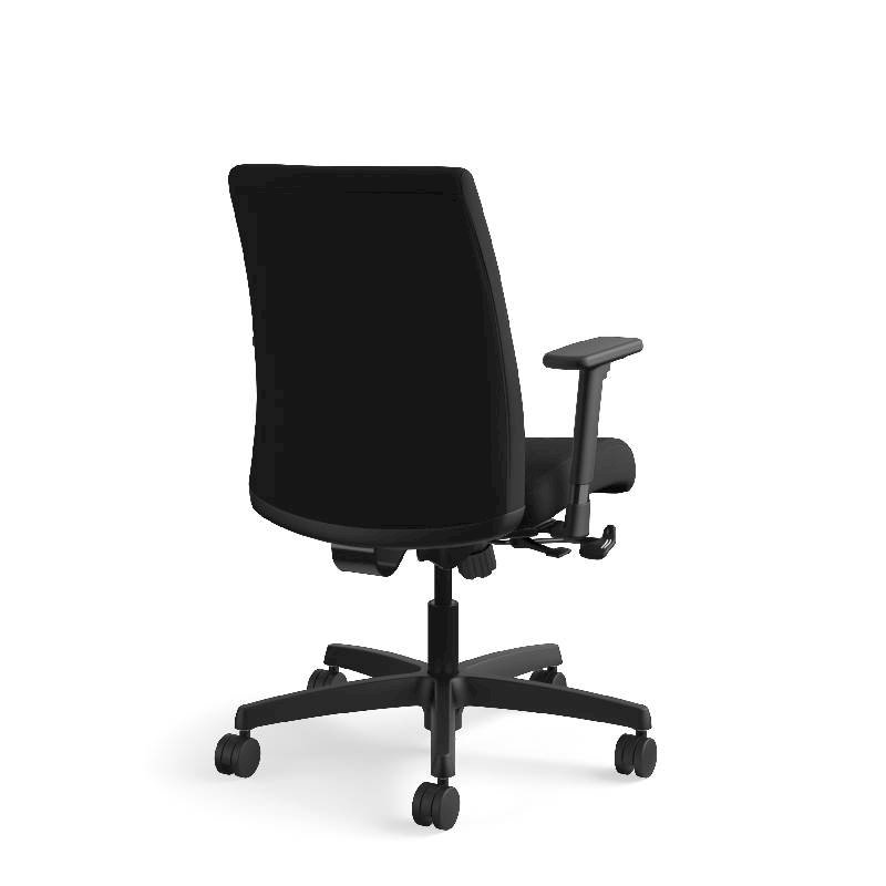HON Ignition Low-Back Task Chair | Height- and Width-Adjustable Arms | Hard Casters | Upholstered Back | Black Fabric | Black Base. Picture 8