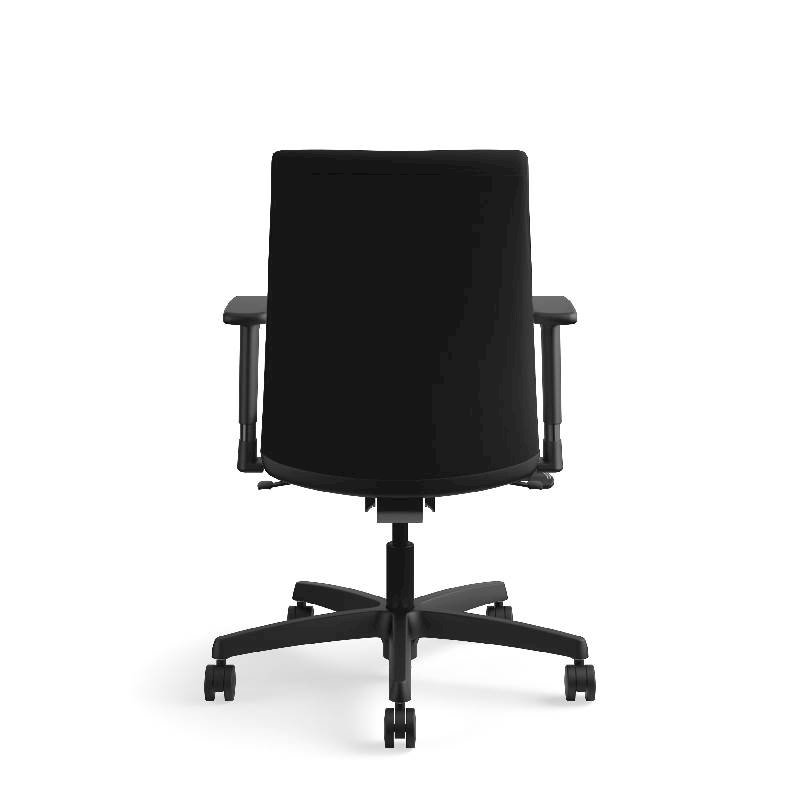 HON Ignition Low-Back Task Chair | Height- and Width-Adjustable Arms | Hard Casters | Upholstered Back | Black Fabric | Black Base. Picture 9