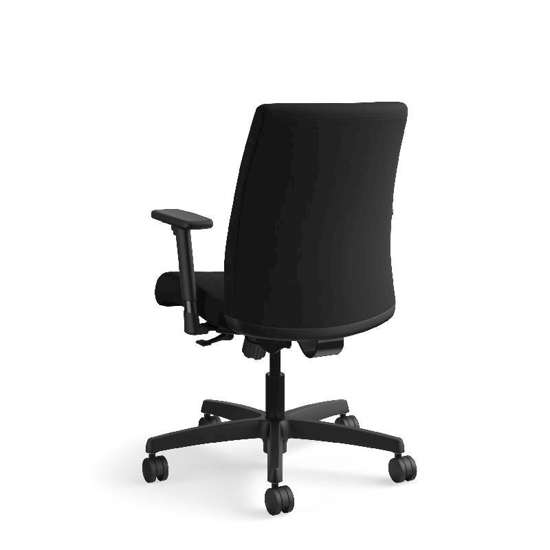 HON Ignition Low-Back Task Chair | Height- and Width-Adjustable Arms | Hard Casters | Upholstered Back | Black Fabric | Black Base. Picture 10