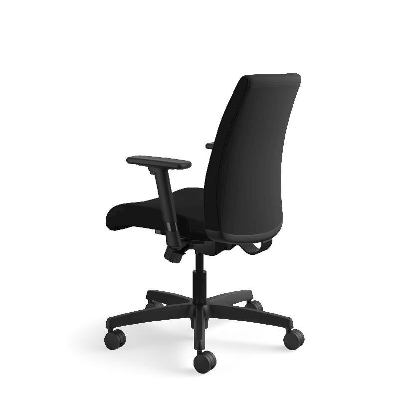 HON Ignition Low-Back Task Chair | Height- and Width-Adjustable Arms | Hard Casters | Upholstered Back | Black Fabric | Black Base. Picture 11