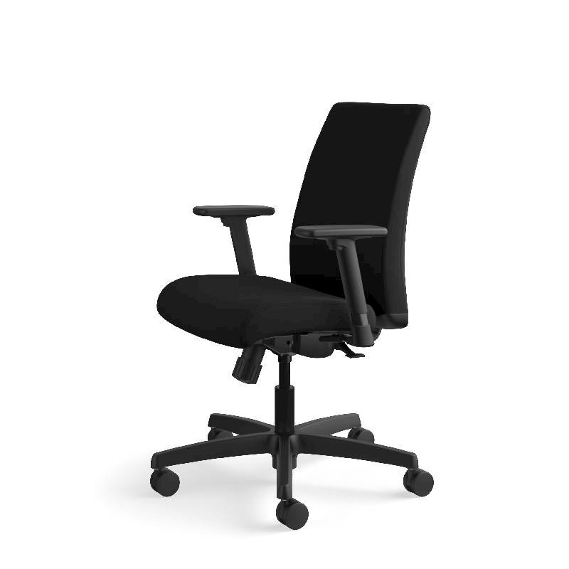 HON Ignition Low-Back Task Chair | Height- and Width-Adjustable Arms | Hard Casters | Upholstered Back | Black Fabric | Black Base. Picture 13