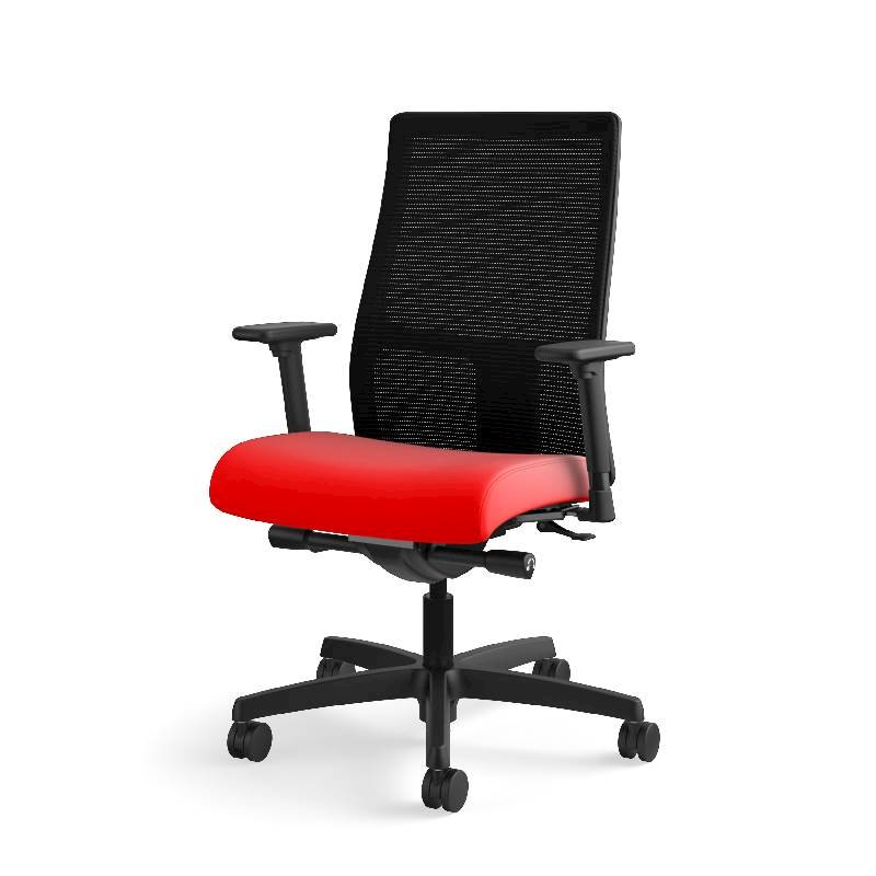 Charmant HON Ignition Mid Back Task Chair | Height  And Width Adjustable Arms | Hard  Casters | Black Ilira Stretch Mesh Back | Ruby Seat Fabric | Black Frame ...