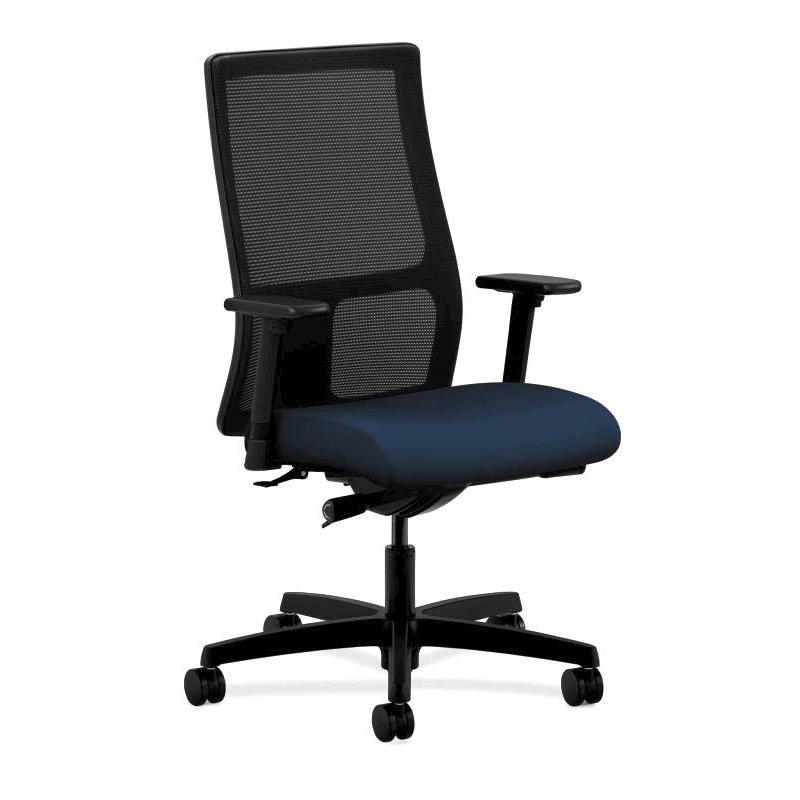 HON Ignition Mid-Back Task Chair | Height- and Width-Adjustable Arms | Hard Casters | Black ilira-Stretch Mesh Back | Navy Seat Fabric | Black Frame | Standard Base. Picture 1