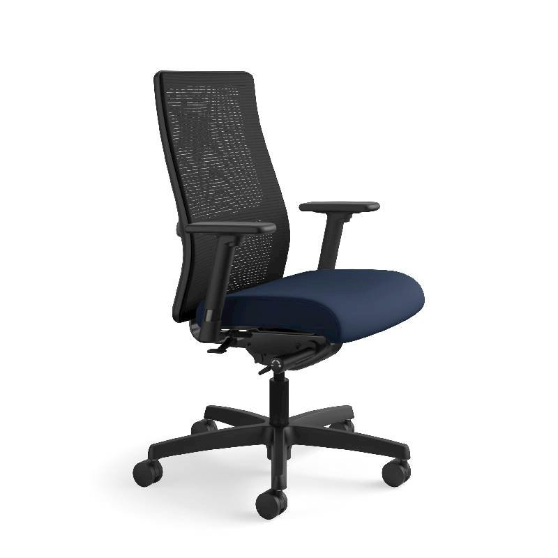 HON Ignition Mid-Back Task Chair | Height- and Width-Adjustable Arms | Hard Casters | Black ilira-Stretch Mesh Back | Navy Seat Fabric | Black Frame | Standard Base. Picture 2