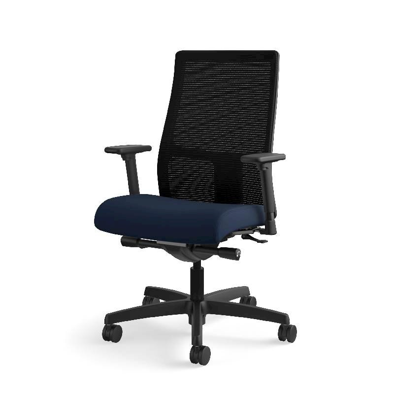 HON Ignition Mid-Back Task Chair | Height- and Width-Adjustable Arms | Hard Casters | Black ilira-Stretch Mesh Back | Navy Seat Fabric | Black Frame | Standard Base. Picture 3