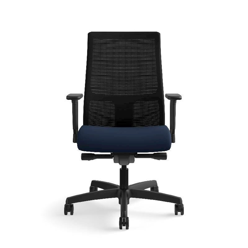 HON Ignition Mid-Back Task Chair | Height- and Width-Adjustable Arms | Hard Casters | Black ilira-Stretch Mesh Back | Navy Seat Fabric | Black Frame | Standard Base. Picture 4