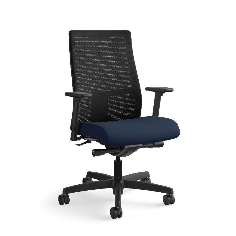 HON Ignition Mid-Back Task Chair | Height- and Width-Adjustable Arms | Hard Casters | Black ilira-Stretch Mesh Back | Navy Seat Fabric | Black Frame | Standard Base. Picture 5