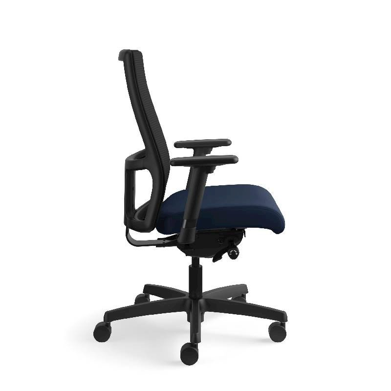 HON Ignition Mid-Back Task Chair | Height- and Width-Adjustable Arms | Hard Casters | Black ilira-Stretch Mesh Back | Navy Seat Fabric | Black Frame | Standard Base. Picture 6