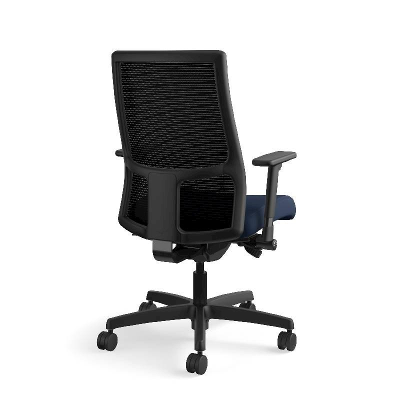 HON Ignition Mid-Back Task Chair | Height- and Width-Adjustable Arms | Hard Casters | Black ilira-Stretch Mesh Back | Navy Seat Fabric | Black Frame | Standard Base. Picture 8