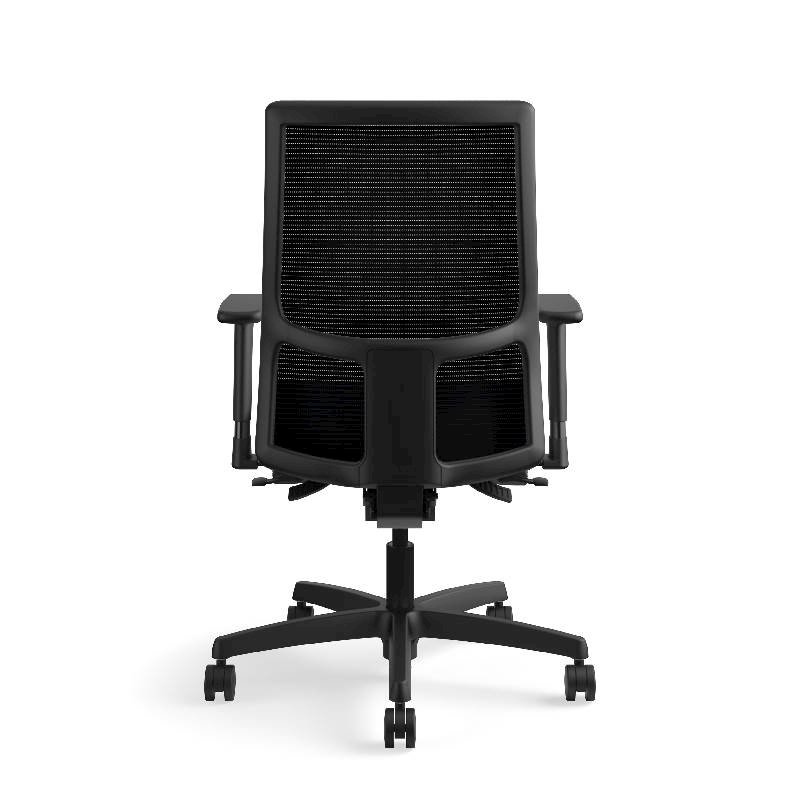 HON Ignition Mid-Back Task Chair | Height- and Width-Adjustable Arms | Hard Casters | Black ilira-Stretch Mesh Back | Navy Seat Fabric | Black Frame | Standard Base. Picture 9