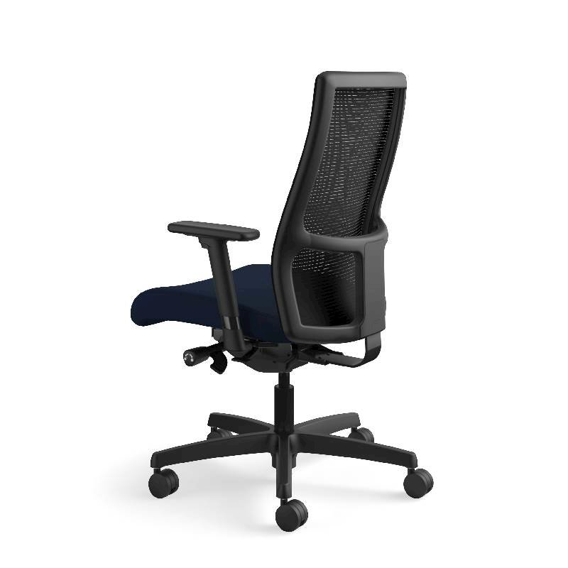 HON Ignition Mid-Back Task Chair | Height- and Width-Adjustable Arms | Hard Casters | Black ilira-Stretch Mesh Back | Navy Seat Fabric | Black Frame | Standard Base. Picture 11