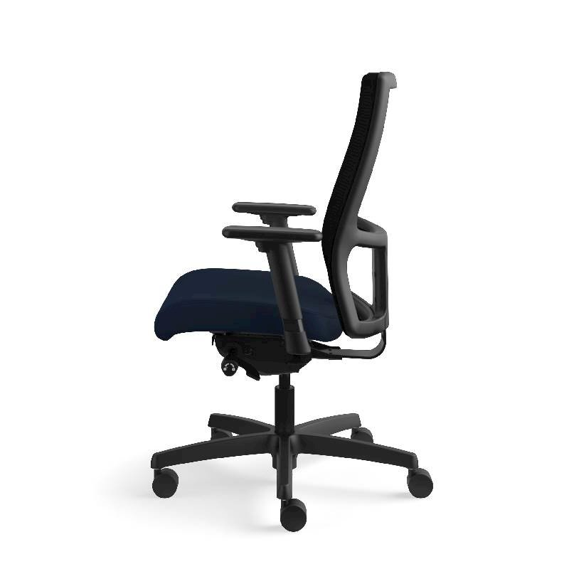 HON Ignition Mid-Back Task Chair | Height- and Width-Adjustable Arms | Hard Casters | Black ilira-Stretch Mesh Back | Navy Seat Fabric | Black Frame | Standard Base. Picture 12