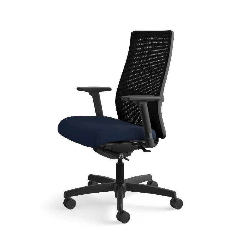 HON Ignition Mid-Back Task Chair | Height- and Width-Adjustable Arms | Hard Casters | Black ilira-Stretch Mesh Back | Navy Seat Fabric | Black Frame | Standard Base. Picture 13
