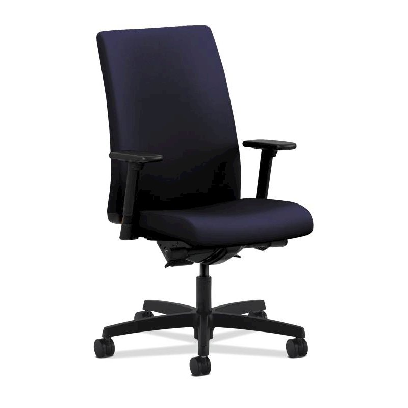 HON Ignition Mid-Back Task Chair | Height- and Width-Adjustable Arms | Hard Casters | Upholstered Back | Navy Seat Fabric | Black Frame | Standard Base. Picture 1