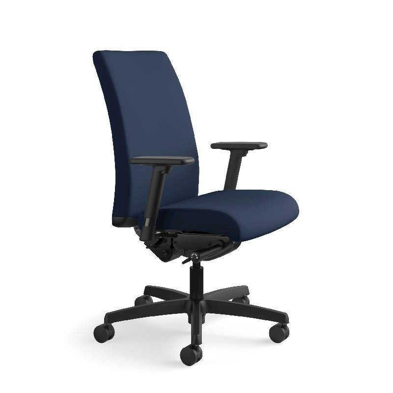 HON Ignition Mid-Back Task Chair | Height- and Width-Adjustable Arms | Hard Casters | Upholstered Back | Navy Seat Fabric | Black Frame | Standard Base. Picture 2