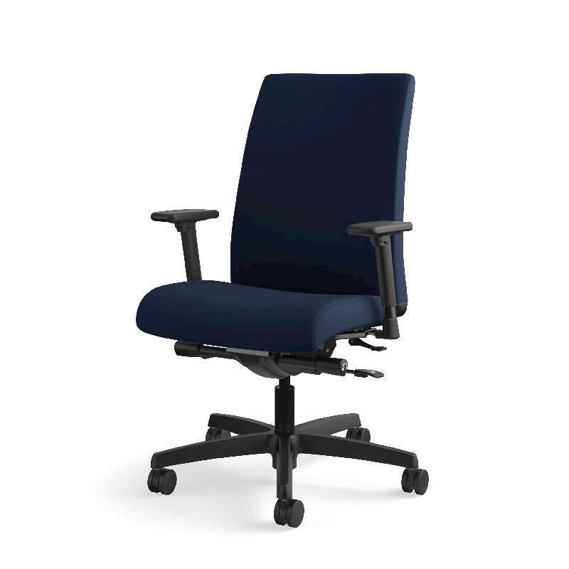 HON Ignition Mid-Back Task Chair | Height- and Width-Adjustable Arms | Hard Casters | Upholstered Back | Navy Seat Fabric | Black Frame | Standard Base. Picture 3