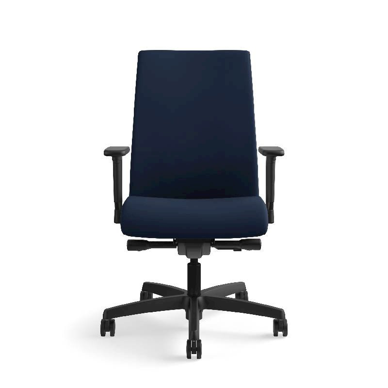 HON Ignition Mid-Back Task Chair | Height- and Width-Adjustable Arms | Hard Casters | Upholstered Back | Navy Seat Fabric | Black Frame | Standard Base. Picture 4