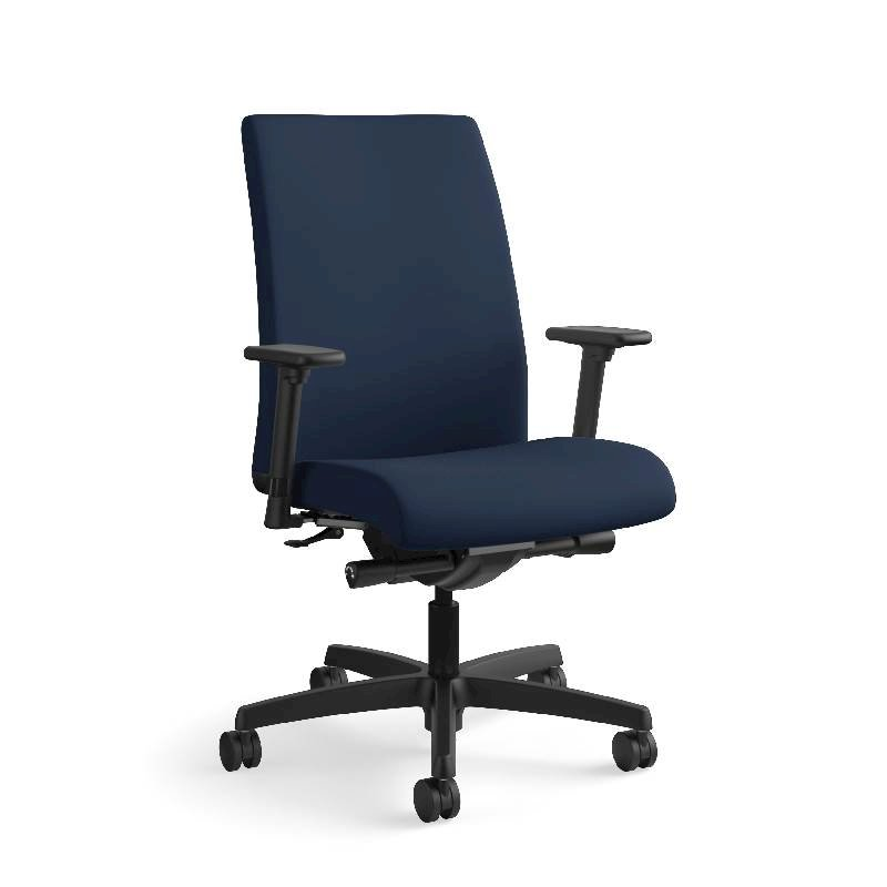 HON Ignition Mid-Back Task Chair | Height- and Width-Adjustable Arms | Hard Casters | Upholstered Back | Navy Seat Fabric | Black Frame | Standard Base. Picture 5