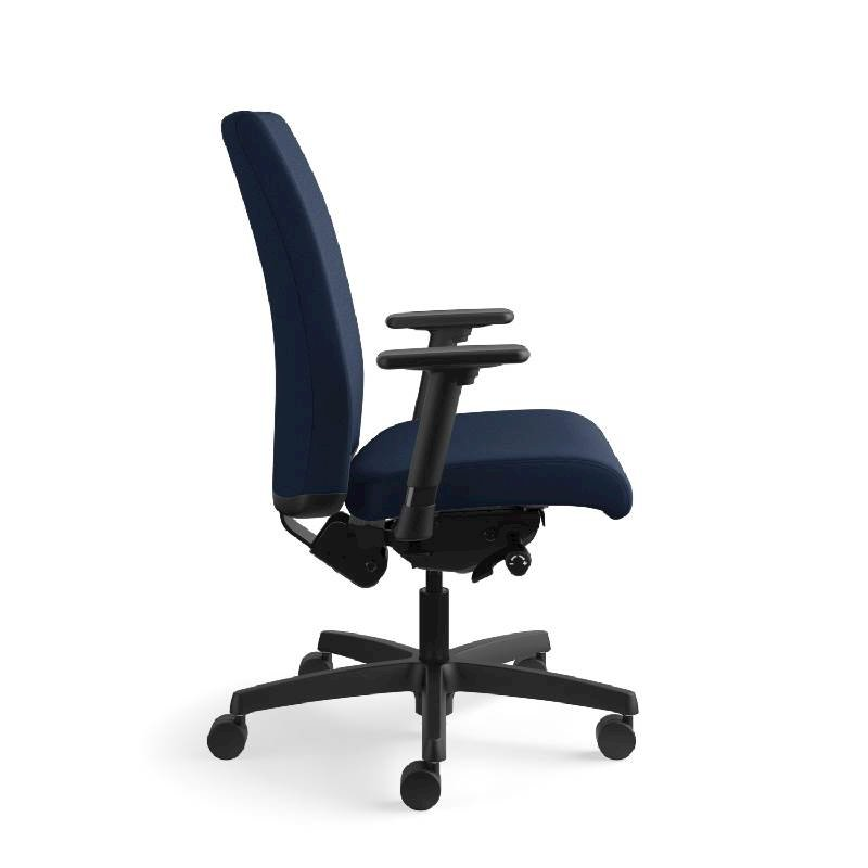HON Ignition Mid-Back Task Chair | Height- and Width-Adjustable Arms | Hard Casters | Upholstered Back | Navy Seat Fabric | Black Frame | Standard Base. Picture 6