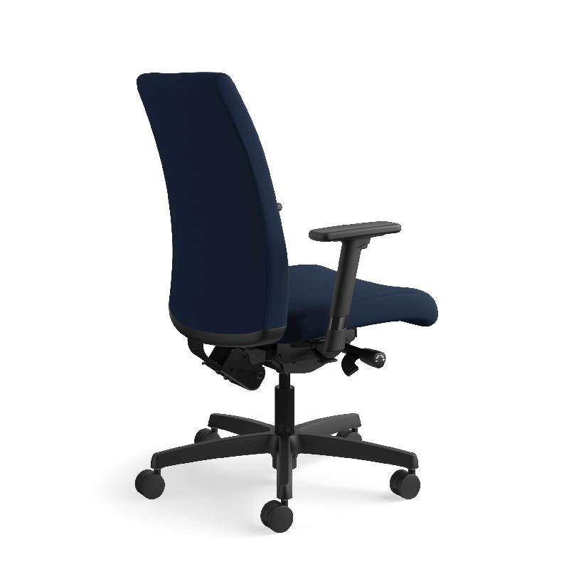 HON Ignition Mid-Back Task Chair | Height- and Width-Adjustable Arms | Hard Casters | Upholstered Back | Navy Seat Fabric | Black Frame | Standard Base. Picture 7
