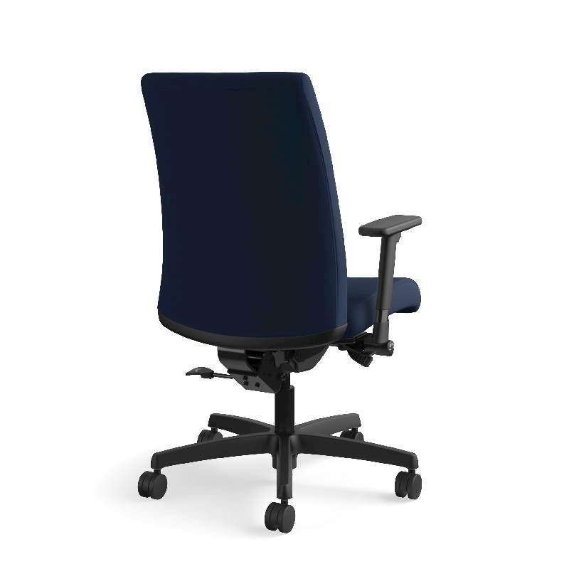 HON Ignition Mid-Back Task Chair | Height- and Width-Adjustable Arms | Hard Casters | Upholstered Back | Navy Seat Fabric | Black Frame | Standard Base. Picture 8